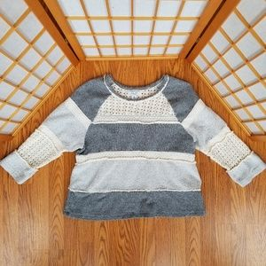 Lucky Lotus 1/2 Sleeve Mixed Material Sweater